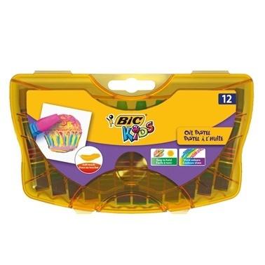 Bic Yağlı Pastel 12li Sert Plastik Kutu Renkli